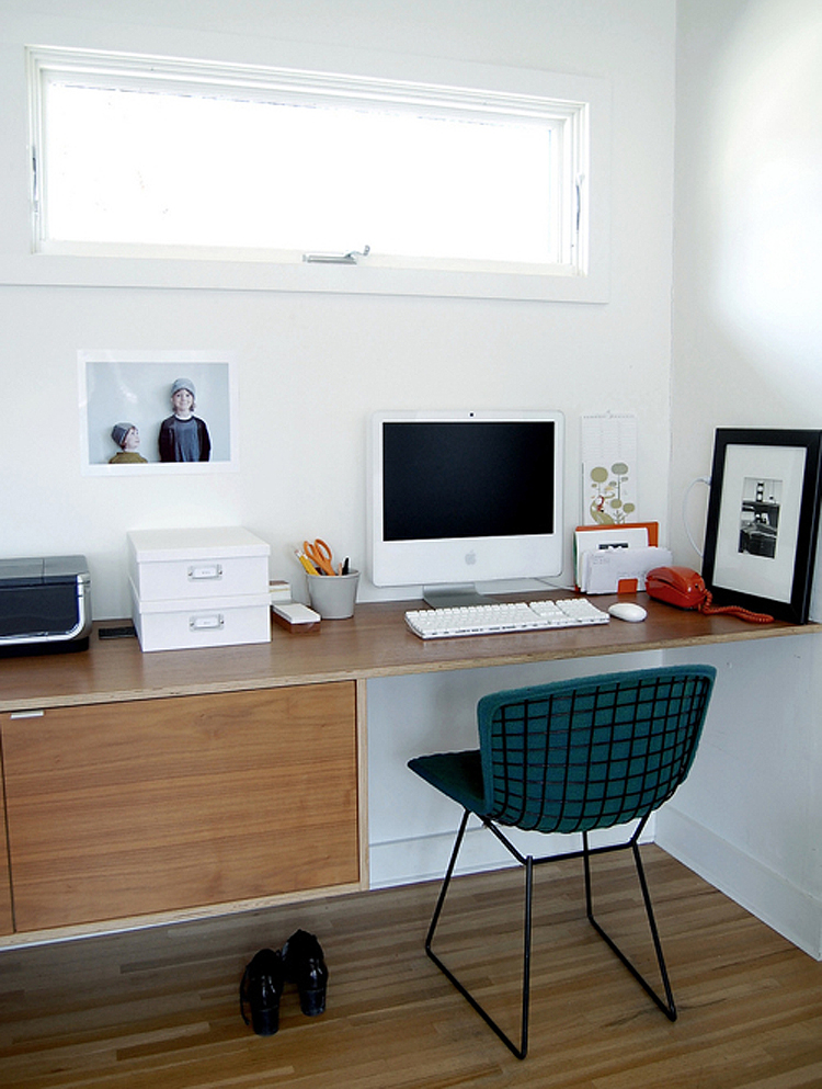 Office with bertoia chair and floating desk the mid century modernist - Floating office desk ...