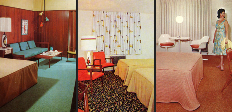 Motel room postcards of the 1950s and 39 60s the mid for Living room 60 s