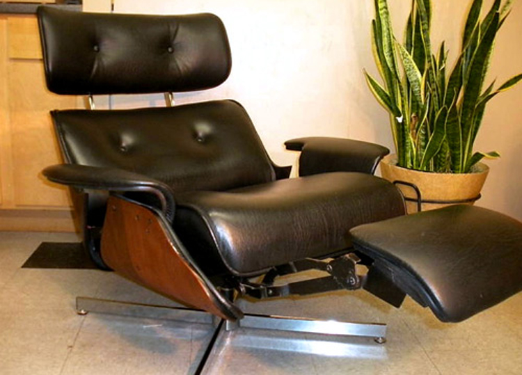 Plycraft Eames style Recliner with Built in Footrest The